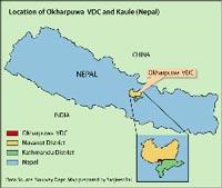 Karte von Nepal, Lage des Nuwakot District.